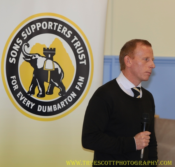 Sons boss Stevie Aitken addresses supporters at October's Meet the Manager session.
